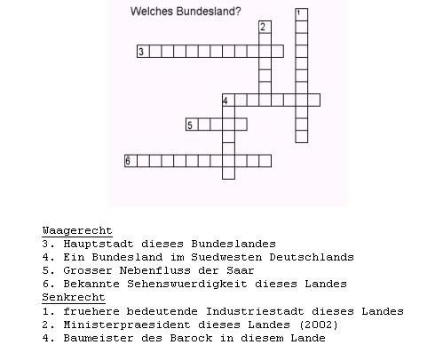 beispiel kreuzwortrtsel thema saarland - Beispiel Kreuzwortratsel